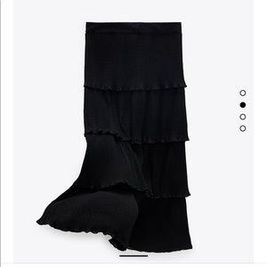 NWT Zara  High Waist Ruffle Dotted Mesh MIDI Skirt